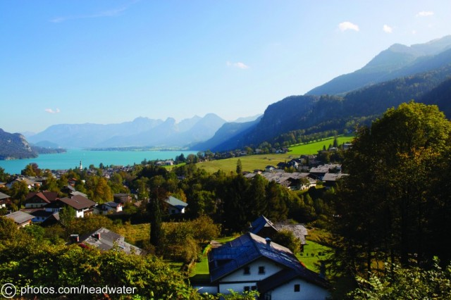 View across The Wolfgangsee and the mountains behind it from St Gilgen, Austria