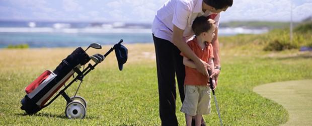 Family golfing.