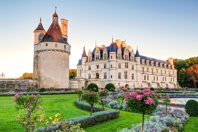 The Chateau de Chenonceau, France. This castle is located near the small village of Chenonceaux in the Loire Valley, was built in the 15-16 centuries and is a tourist attraction.