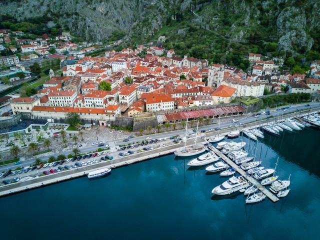 Kotor's old town and marina