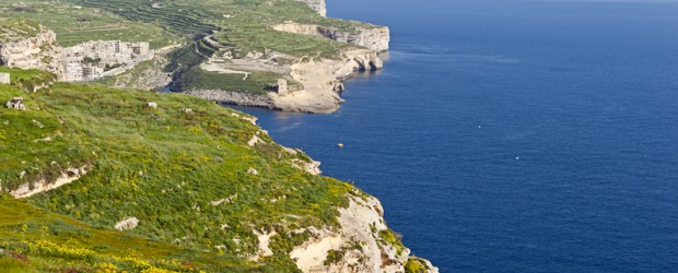Gloriously green coastline of Gozo, Malta's little sister island!
