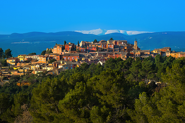 The colourful village of Roussillon, France.