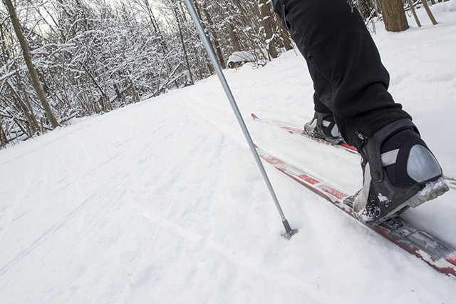 A man cross country skiing