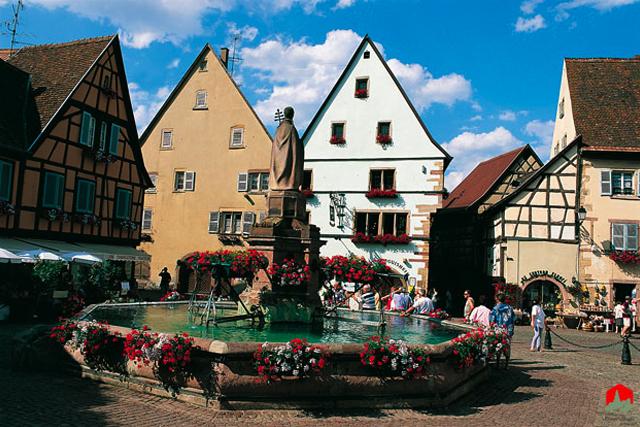 The pretty village of Eguisheim, France.