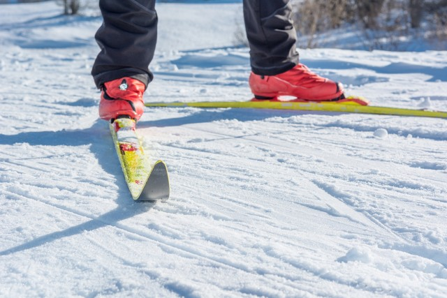 Cross country skiing. Close up of shoes and skiis.