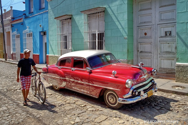 Cuba, Sancti Spiritus, Trinidad, Classic Car in the Old Town of Trinidad