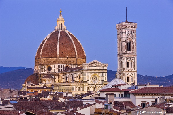 Italy, Tuscany, Firenze district, Florence, Duomo Santa Maria del Fiore, Mediterranean area, View from Hotel Baglioni