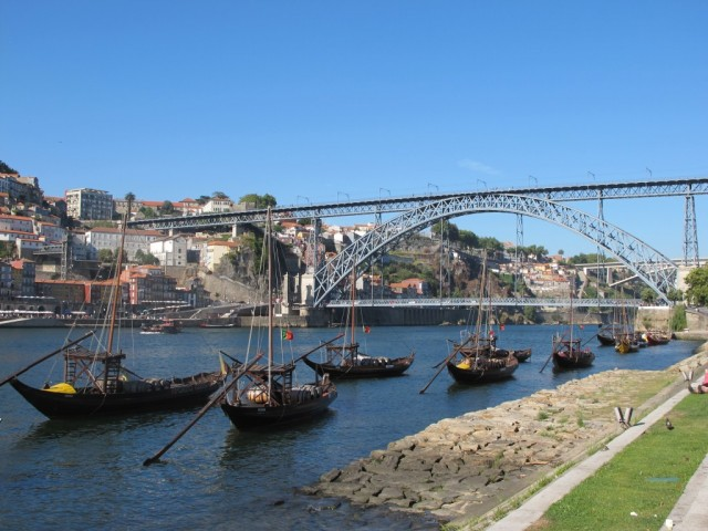 Rabelo boats by the riverside in Porto, Portugal.