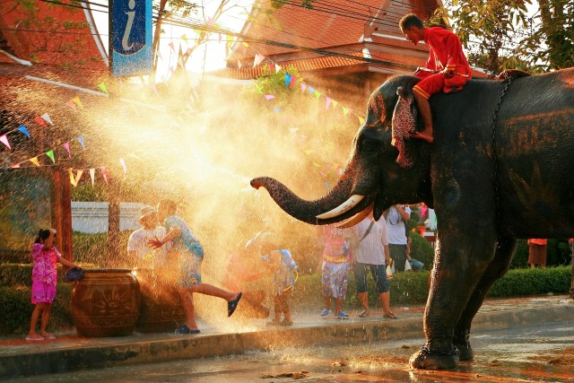 BANGKOK - APRIL 15: Songkran Festival is celebrated in a traditional New Year's Day from April 13 to 15.