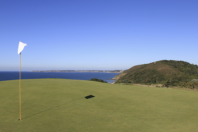 Golf course looking out onto the Brittany coast.