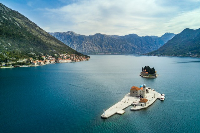 Perast with the islets of Our Lady of the Rocks and St George