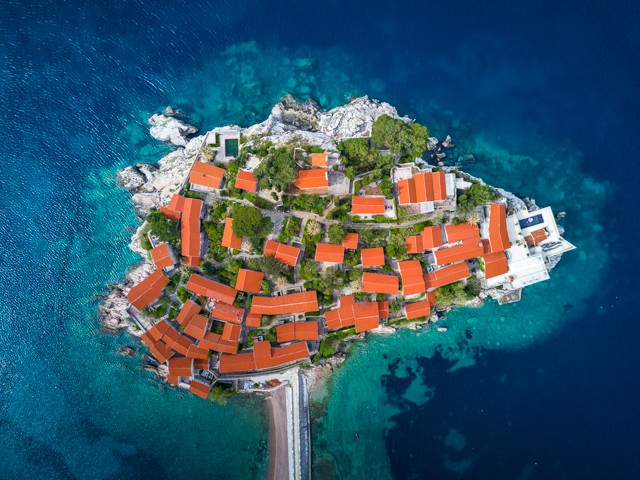 A bird's eye view of the resort of Aman Sveti Stefan