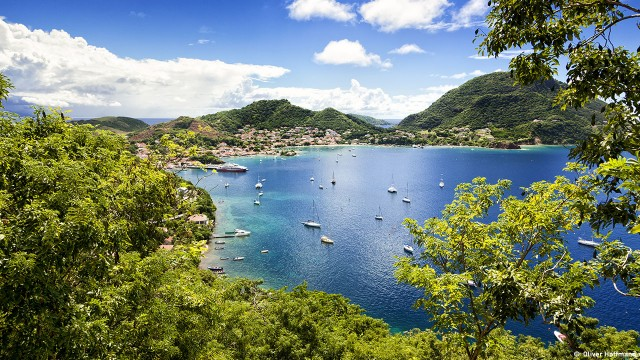 Town and bay of Terre-de-Haut, capital of Les Saintes islands, Guadeloupe archipelago, Caribbean Sea