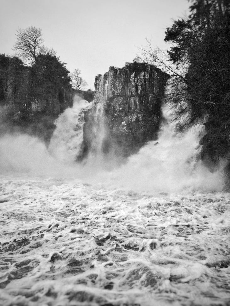 High Force, Co. Durham in heavy rain and spray