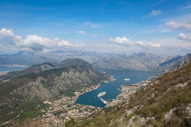 The view from the top of the P1 road high above the Bay of Kotor