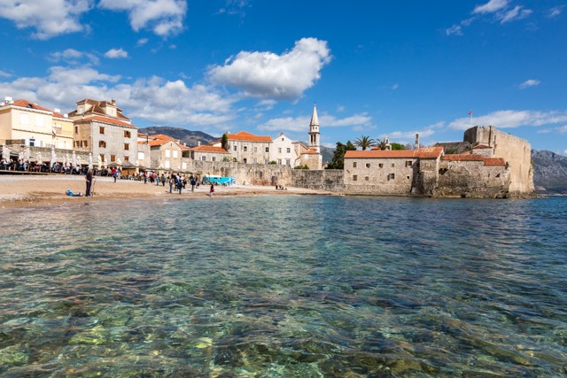 Budva's old town and beach