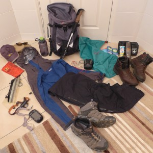 Stumpy's stuff laid out pre-trip