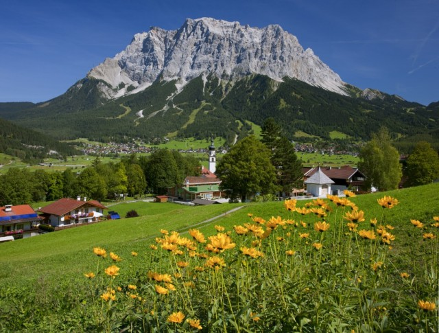 Lermoos onto the town of Ehrwald with Zugspize mountain in distance.