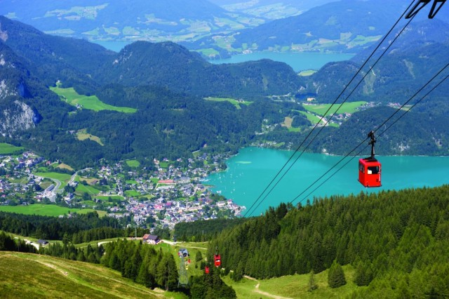 View of a village next to a lake with a cable car heading up The Zwalferhorn