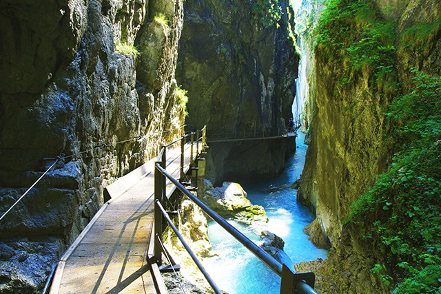 Austria On Day 3 of our Walking in the Leutasch Valley holiday you'll begin the steep Frenchman's Climb and head into the spectacular Leutaschklamm Gorge on a series of amazing boardwalks high above the ice-blue waters to a thundering 23m waterfall.