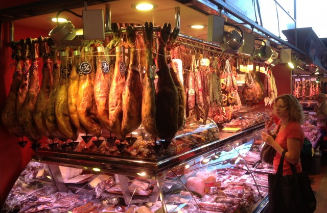 There's a vast choice of hams at every market!