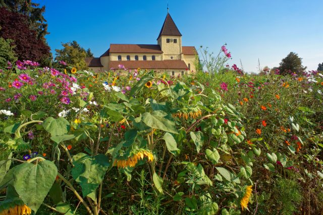 Romanesque church, one of the oldest in Germany, on the island of Reichenau