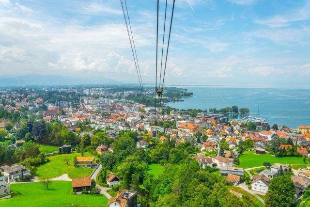Pfanderbahn cable car with the Austrian city Bregenz