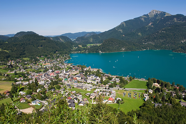 View from the zwolferhorn mountain on to the city of st.Gilgen and the Wolfgangsee in Austria.